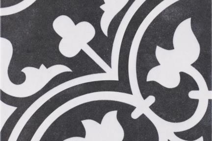 אריחי ריצוף וינטג' סדרת Toledo 1001425. ענתיקה פרחים שחור-לבן. גודל: 25*25.