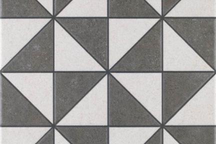 אריחי ריצוף וינטג' סדרת Toledo 1001422. משולשים אפור-לבן. גודל: 25*25.