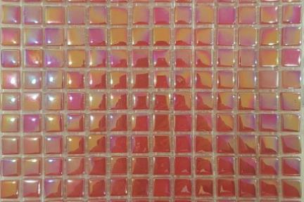 אריחי פסיפס לחיפוי קיר מאבן 3822. פסיפס 1*1 זכוכית אדמדם צדף.גודל: 30*30.