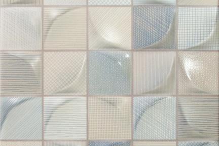 אריח לחיפוי קיר  קרמיקה דמוי פסיפס 1011539. דמוי פסיפס גאומטרי - מעורב צבעים.  גודל: 25*25