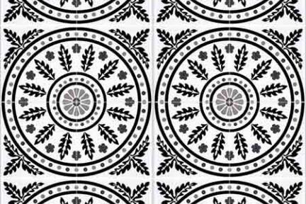 אריחי ריצוף וינטג' סדרת Cordova 1001163. עלים בעיגול - שחור לבן.  גודל: 20*20.