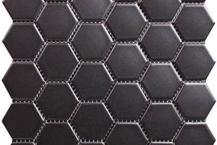 אריחי פסיפס לחיפוי קיר מקרמיקה 5415. פסיפס משושה 5 שחור מט.  גודל:30*30.