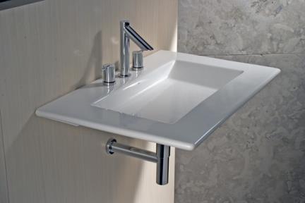 כיור קיר תלוי לאמבטיה: L601. כיור קיר  מידה:80X50  עם או בלי חור  צבע לבן