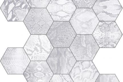 אריחי ריצוף וינטג' סדרת Hexagon 1001407. משושה קרוקודיל אפור. מגוון דגמים שונים.  גודל: 22*25