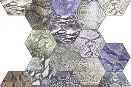 אריחי ריצוף וינטג' סדרת Hexagon 1001408. משושה קרוקודיל צבעוני. מגוון דגמים שונים.  גודל: 22*25