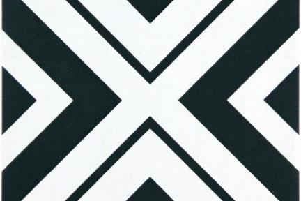 אריחי ריצוף וינטג' סדרת Cordova 1001582. אריח גאומטרי שחור לבן.  גודל: 20*20.
