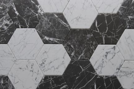 אריחי ריצוף וינטג' סדרת Hexagon 1011618. משושה דמי קררה לבן.  גודל: 14*16.3
