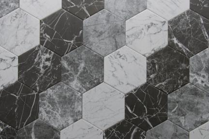 אריחי ריצוף וינטג' סדרת Hexagon 1011620. משושה דמי קררה שחור.  גודל: 14*16.3