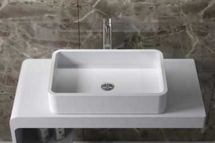 כיור מונח לחדר אמבטיה L638MT. כיור מונח אבן מלאכותית לבן מט.  גודל: 38*60  גובה:13