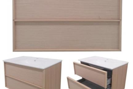 ארונות אמבטיה לאחסון  6803-71. ארון 2 מגירות.  עץ בהיר כולל כיור L6803  גודל: 45*80