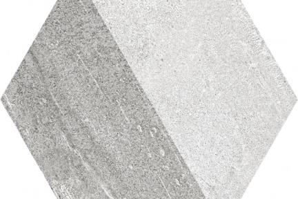אריחי ריצוף וינטג' סדרת Hexagon 1011608. משושה גאומטרי אפור.  גודל: 22*25