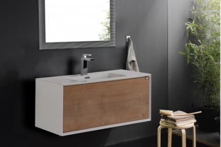 ארונות אמבטיה לאחסון  6903-12. ארון תלוי לבן מט.  מגירת עץ עם כיור.  גודל: 90*48