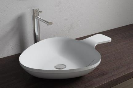 כיור מונח לחדר אמבטיה L623MT. כיור מונח מחבת מרובע.  אבן מלאכותית - לבן מט.  גודל: 62*44  גובה: 13.5