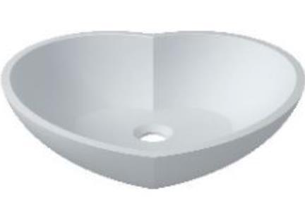 כיור מונח לחדר אמבטיה L522MT. כיור מוח לב.  אבן מלאכותית - לבן מט.