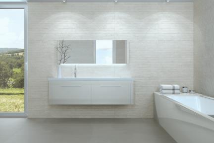 אריחי וינטג' לחיפוי קיר בסגנון עתיק 1011373. קרמיקה מחולקת לפסים - לבן מט.  גודל: 30*90