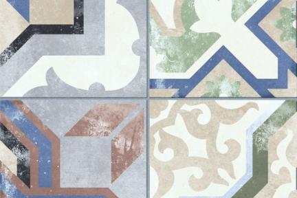 אריחי ריצוף וינטג' סדרת Catalonia 1011598. פורצלן וינטג' צבעוני מחולק ל4 - מעורב.  גודל: 25*25