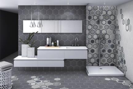 אריחי ריצוף וינטג' סדרת Hexagon 1011728. פורצלן משושה פחם.  נגד החלקה R10.  גודל: 22*25