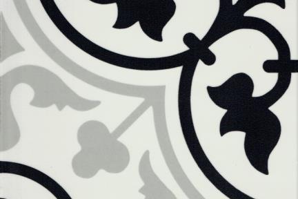 אריחי ריצוף וינטג' סדרת Catalonia 1011695. קרמיקה ענתיקה עלים שחורים-אפורים.  גודל: 24*24  נגד החלקה R10
