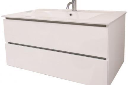 ארונות אמבטיה לאחסון  6174-1. ארון 2 מגירות לבן ללא כיור.  כיורים תואמים: B6174, L6174  גודל: 100*46