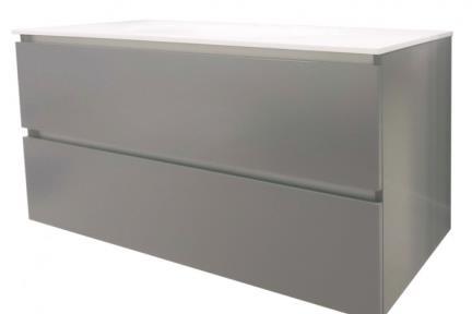 ארונות אמבטיה לאחסון  6174-5. ארון 2 מגירות אפור ללא כיור.  כיורים תואמים: B6174, L6174  גודל: 100*46