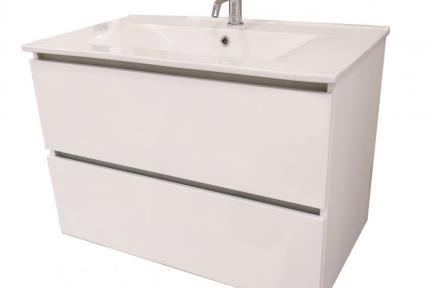 ארונות אמבטיה לאחסון  6874-4. ארון 2 מגירוות לבן ללא כיור.  כיורים תואמים: B6874, L6874  גודל: 80*46