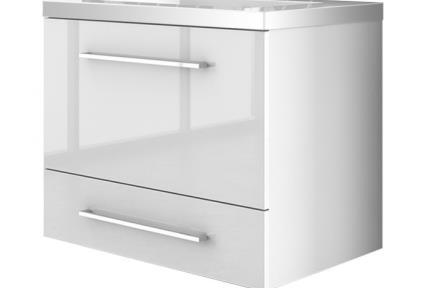 ארונות אמבטיה לאחסון  6060-66. ארון 2 מגירות לבן מבריק עם כיור רזינה B6066  גודל: 120*45  גובה: 59