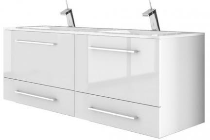 ארונות אמבטיה לאחסון  6260-62. ארון 4 מגירות לבן עם כיור רזינה B6262  גודל: 120*45  גובה: 55