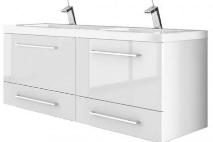 ארונות אמבטיה לאחסון  6260-66. ארון 4 מגירות לבן עם כיור רזינה B6266  גודל: 120*45  גובה: 55