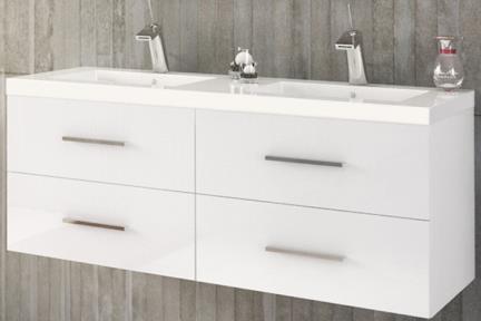 ארונות אמבטיה לאחסון  6300-66. ארון לבן 4 מגירות לבן עם כיור רזינה B6266  גודל: 120*45  גובה: 67