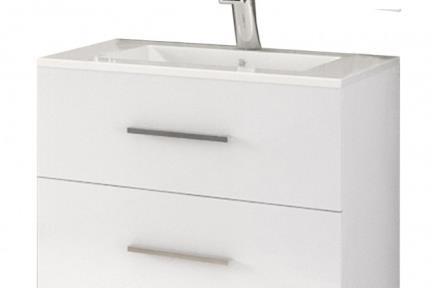 ארונות אמבטיה לאחסון  6363-62. ארון 2 מגירות לבן מבריק עם כיור רזינה B6062  גודל: 60*45  גובה: 63