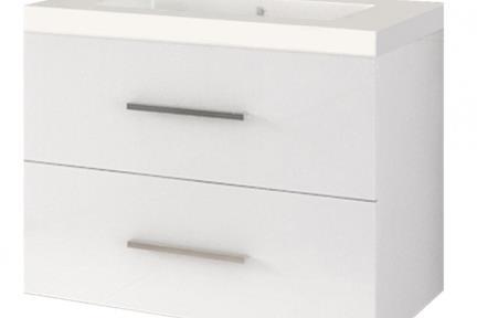 ארונות אמבטיה לאחסון  6363-66. ארון 2 מגירות לבן מבריק עם כיור רזינה B6066  גודל: 60*45  גובה: 66