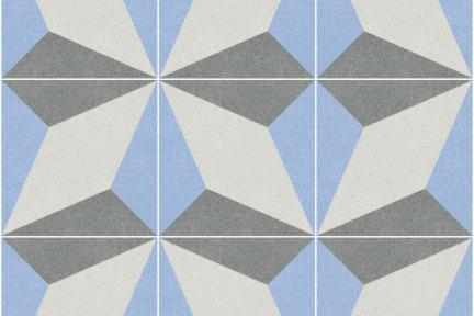 אריחי ריצוף וינטג' סדרת Catalonia 1809. פרוצלן תלת מימד אפור-תכלת.  נגד החלקה R10.  גודל: 25*25