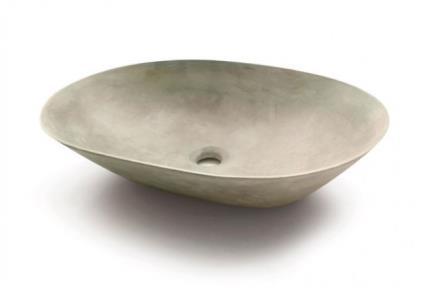 כיורים לאמבטיה מבטון CM600-5. כיור בטון דק מונח אורבלי אפור בהיר.  גודל: 42*59  גובה: 14