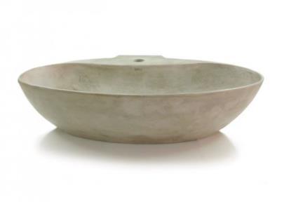 כיורים לאמבטיה מבטון CM601-5. כיור בטון דק מונח אובלי עם חור לברז.  צבע: אפור בהיר  גודל: 60*41  גובה: 14