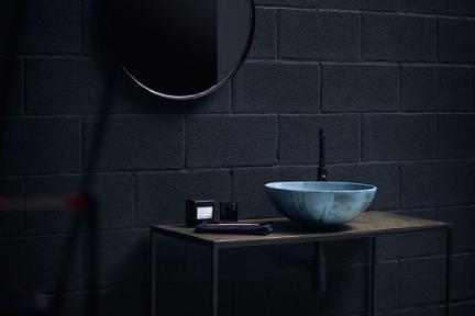 כיורים לאמבטיה מבטון CM401-6. כיור בטון דק מונח תכלת.  קוטר: 40  גובה: 15