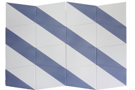 דגם 1011984. אריח פרמידה כחול-לבן לקיר.  גודל: 12.5*15