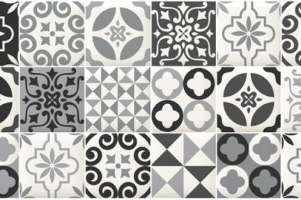 אריחי וינטג' לחיפוי קיר בסגנון עתיק 1011779. קרמיקה מחולקת ל10*10 ענתיקה שחור-לבן מט.  גודל: 30*60