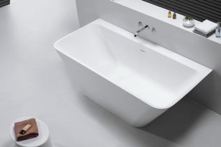 אמבטיה פרי סטנדינג BT151MT. אמבטיה אבן מלאכותית צמודת קיר.  צבע: לבן מט.  גודל: 179*84  גובה: 57