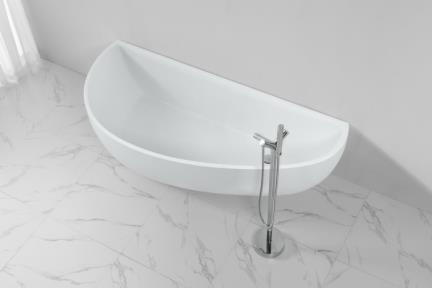 אמבטיה פרי סטנדינג BT152MT. אמבטיה אבן מלאכותית סהר צמודת קיר.  צבע: לבן מט.  גודל: 180*78  גובה: 57