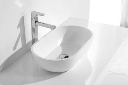 כיור מונח לחדר אמבטיה L563-11. כיור מונח אובלי מאבן מלאכותית.  צבע: לבן מט.  גודל: 56*32  גובה: 15