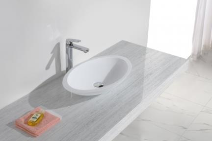 כיור מונח לחדר אמבטיה L593MT. כיור מונח אובלי מאבן מלאכותית.  צבע: לבן מט.  גודל: 35*59  גובה: 11