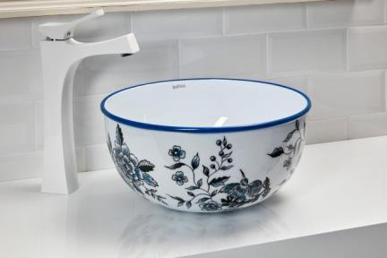 כיור מונח לחדר אמבטיה NR374. כיור נירוסטה מזוגג עם פרחים כחולים.  קוטר: 37  גובה: 18