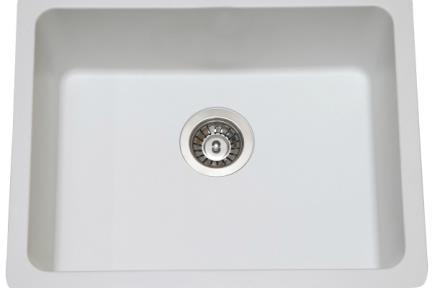 כיור מטבח מסיליקרון SL5847. כיור בודד למטבח לבן.  גודל: 58*47