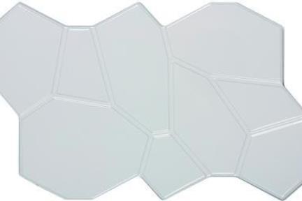 אריח לחיפוי קיר  קרמיקה דמוי פסיפס 1015536. דמויי חלוקים לקיר- לבן מבריק.  גודל: 25*40