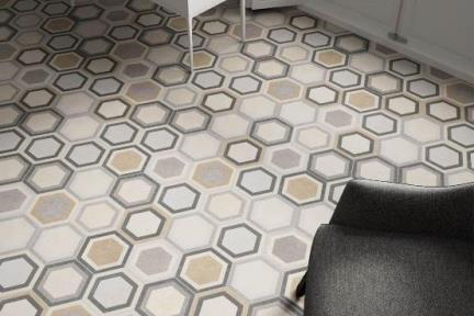 אריחי ריצוף וינטג' סדרת Hexagon 1011312. פורצלן משושה צבעוני.