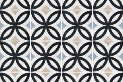 דגם 1012066. פורצלן גאומטרי עלים שחור-תכלת. נגד החלקה R10.  גודל: 20.3*20.3