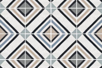 דגם 1012067. פורצלן גאומטרי ריבועים שחורים-כחולים.  נגד החלקה R10. גודל: 20.3*20.3