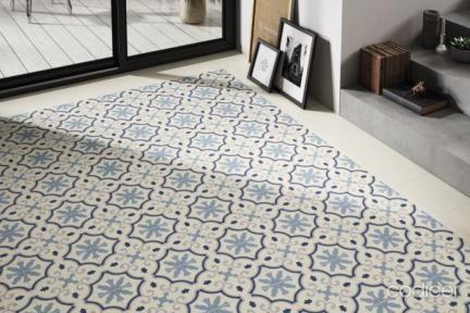 אריחי ריצוף וינטג' סדרת Catalonia 1012128. פורצלן גאומטרי כחול.  גודל: 25*25