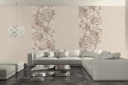 אריח לחיפוי קיר  בדוגמאת טפט 2301006-1. דור פרח פסטלי.  מעורב 2 סוגים.  גודל: 60*120