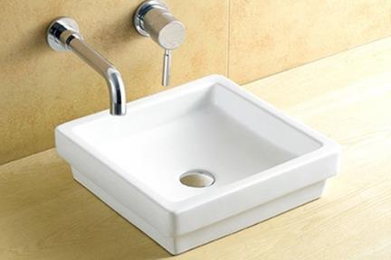 כיור מונח לחדר אמבטיה L401. כיור מונח חצי בפנים.  גודל: 40.5*40.5  גובה: 11.5